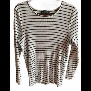 Eloquii Black and White Striped Top